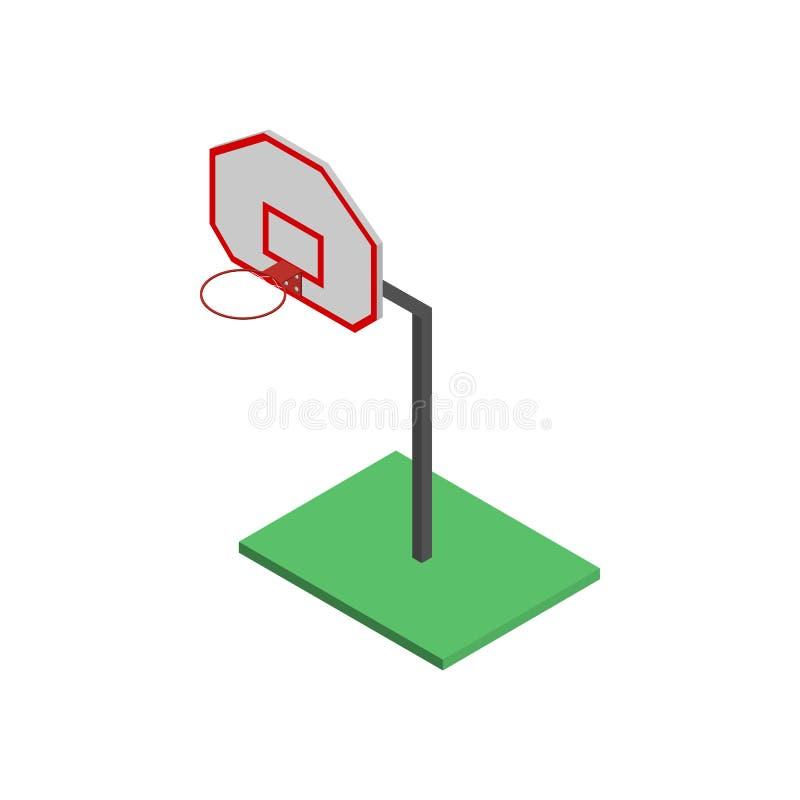 Escudo del baloncesto con la cesta en isométrico, ejemplo del vector stock de ilustración