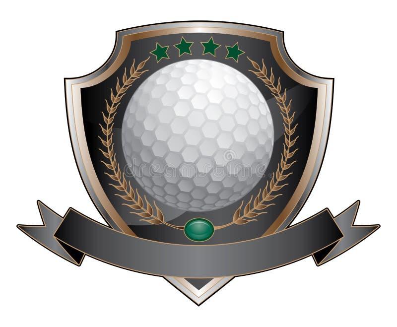 Escudo del diseño del golf ilustración del vector