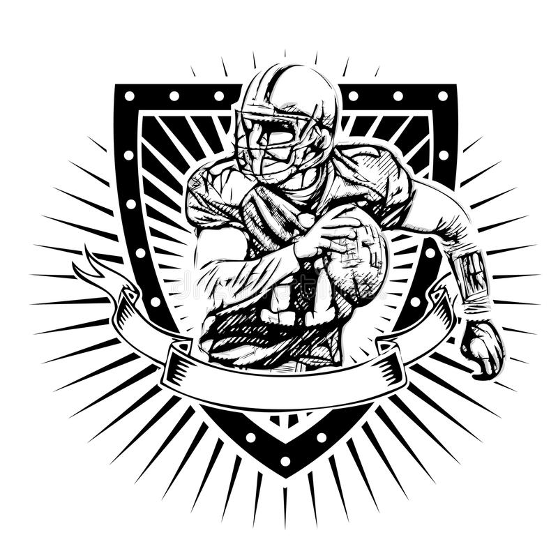 Escudo del fútbol americano stock de ilustración