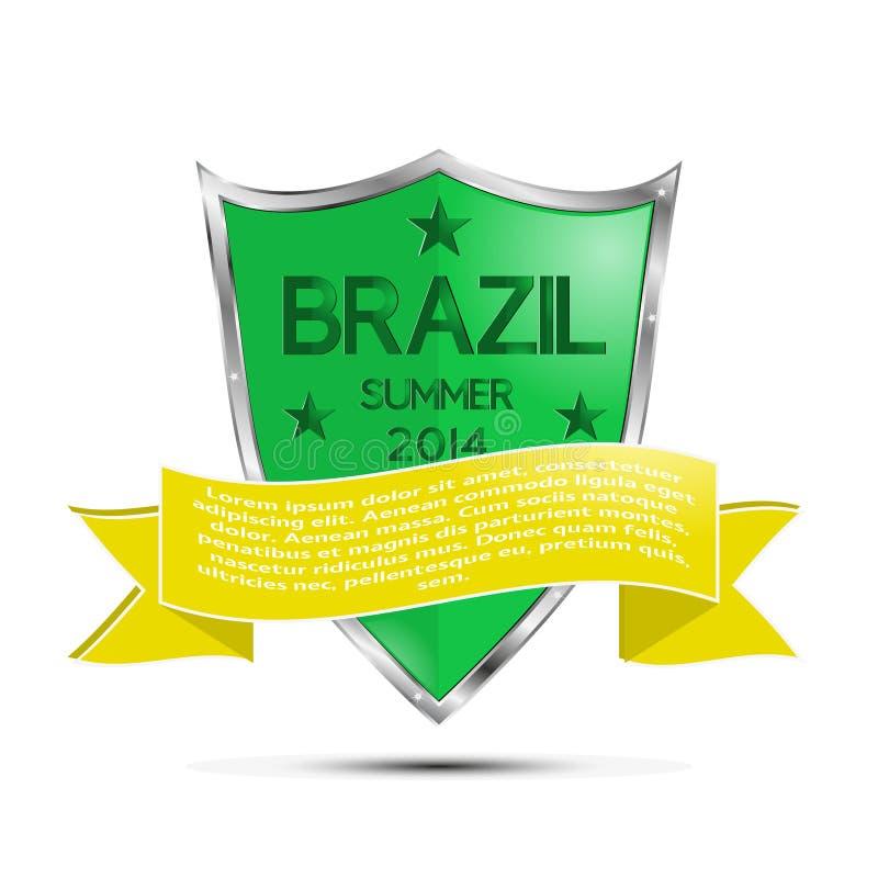 Escudo del fútbol del Brasil ilustración del vector