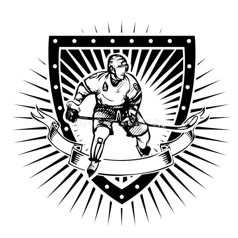 Escudo del hockey sobre hielo stock de ilustración