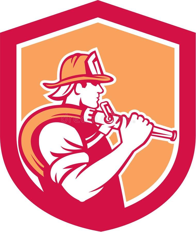 Escudo del hombro de Holding Fire Hose del bombero del bombero stock de ilustración