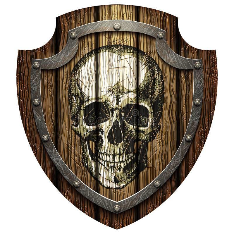 Escudo del roble con el cráneo y los remaches metálicos ilustración del vector