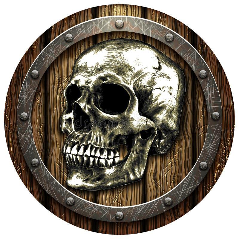 Escudo del roble con el cráneo y los remaches metálicos imagen de archivo