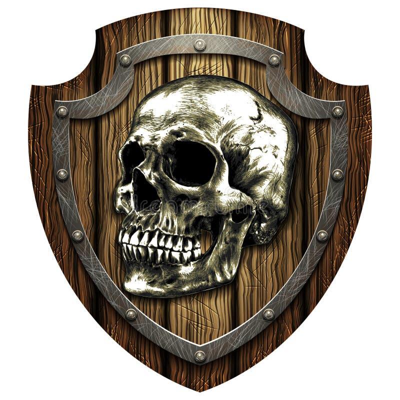 Escudo del roble con el cráneo y los remaches metálicos stock de ilustración