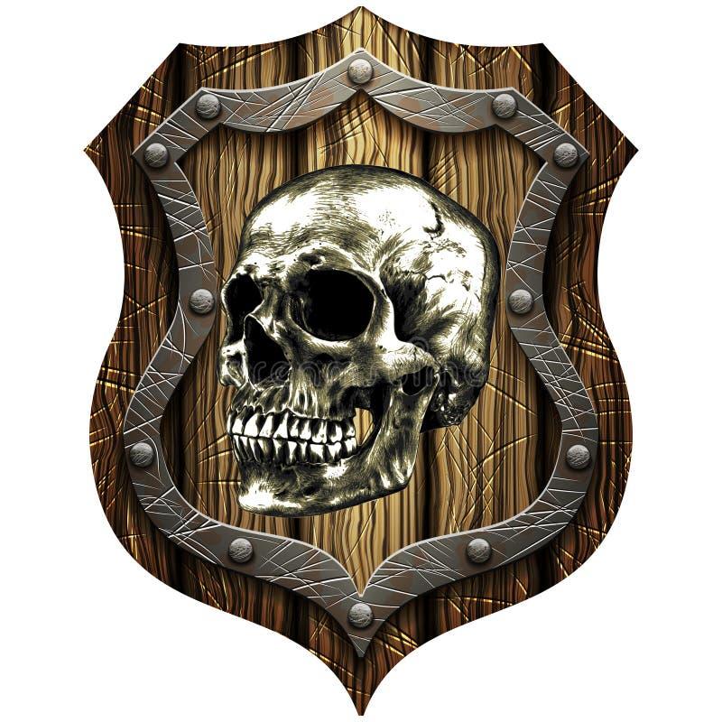 Escudo del roble con el cráneo y los remaches metálicos fotografía de archivo