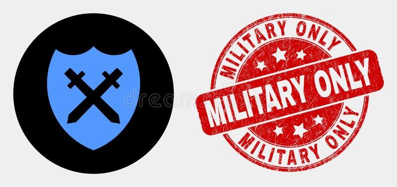 Escudo del vector y filigrana militar del icono y del Grunge de las espadas solamente stock de ilustración