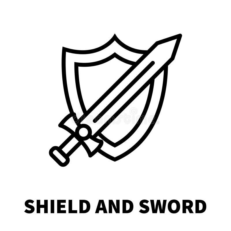 Escudo e icono o logotipo de la espada en la línea estilo moderna libre illustration