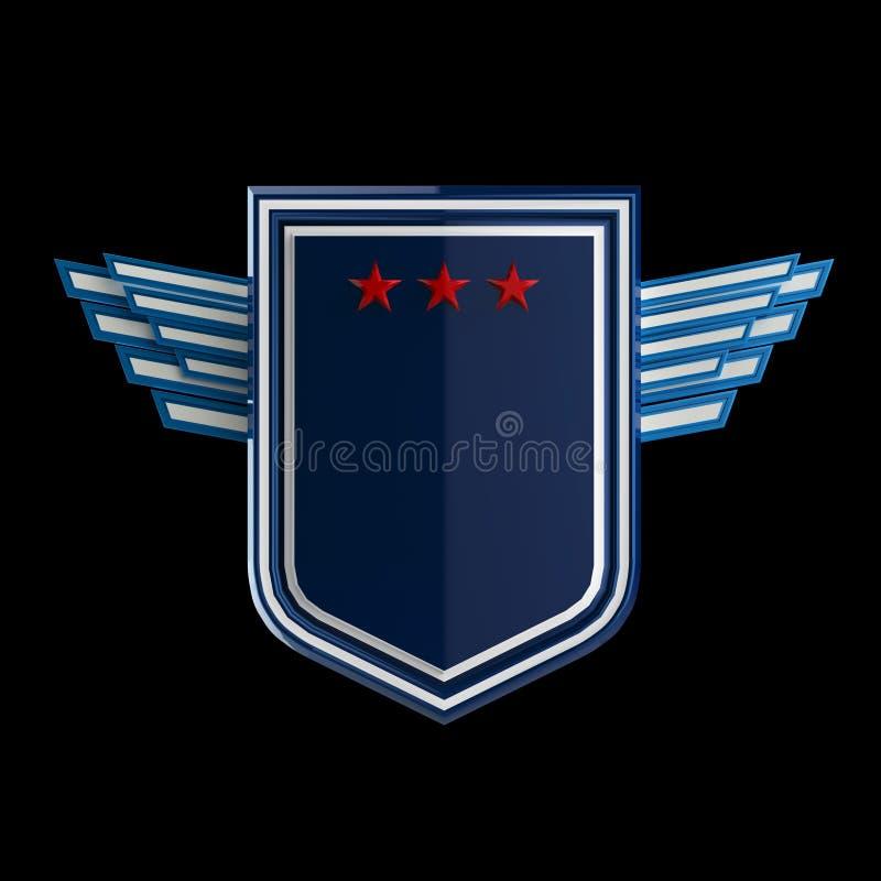 Escudo en blanco realista con tres estrellas y alas estilizadas, representación de la calidad de la altura, aislada libre illustration
