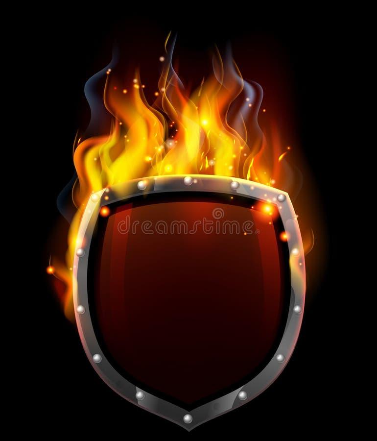 Escudo en llamas ilustración del vector