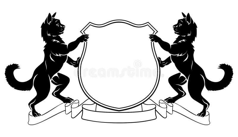 Escudo heráldico de la cresta del escudo de armas de los gatos ilustración del vector