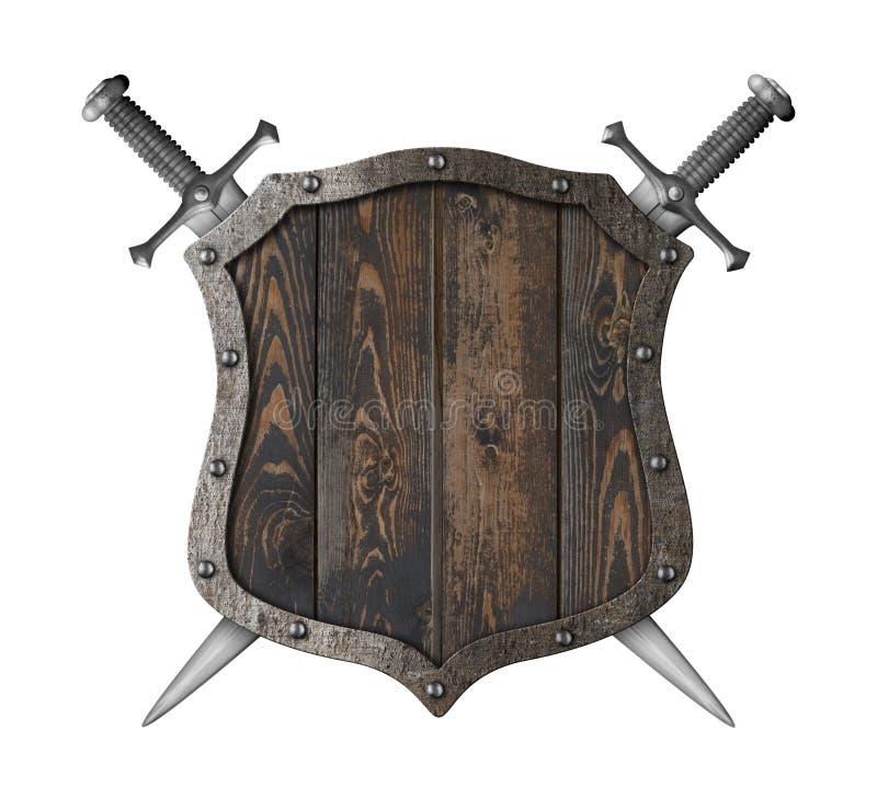 Escudo heráldico medieval de madera con el ejemplo cruzado de las espadas 3d libre illustration