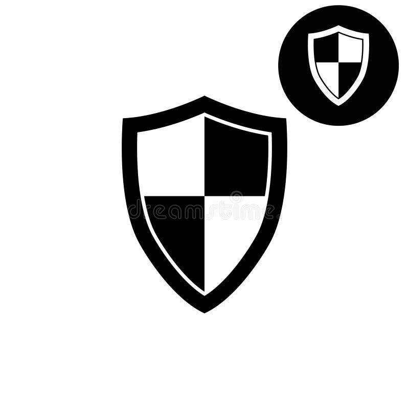 Escudo - icono blanco del vector stock de ilustración