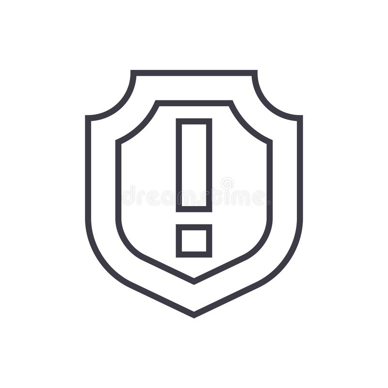 Escudo, línea importante icono, muestra, ejemplo del vector en el fondo, movimientos editable libre illustration