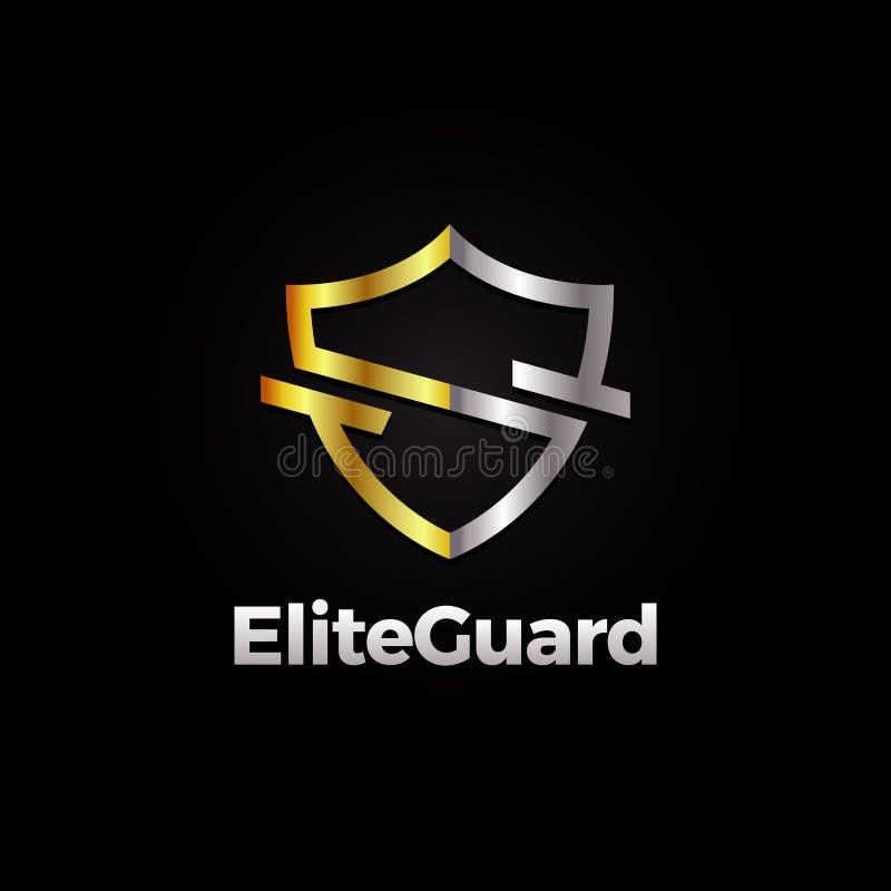 Escudo Logo Template de la élite de la plata y del oro ilustración del vector