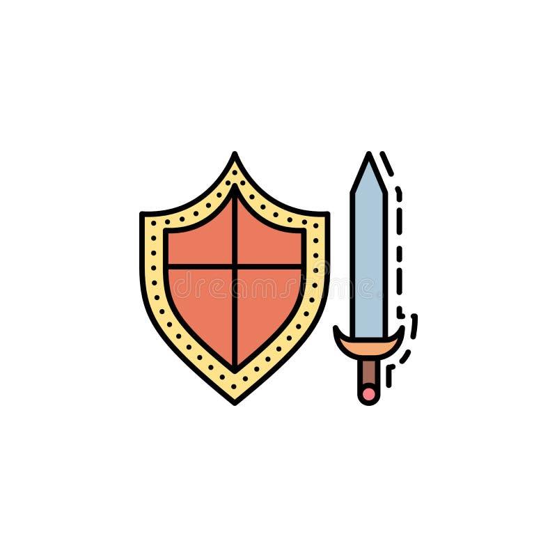 escudo, lucha, cuchilla, espadas, icono de las armas Elemento del icono del color de la historia para los apps móviles del concep ilustración del vector