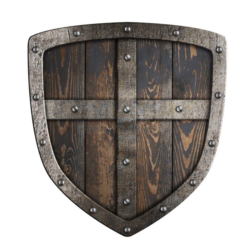 Escudo medieval de madera de vikingos con el marco metálico y el ejemplo cruzado 3d ilustración del vector