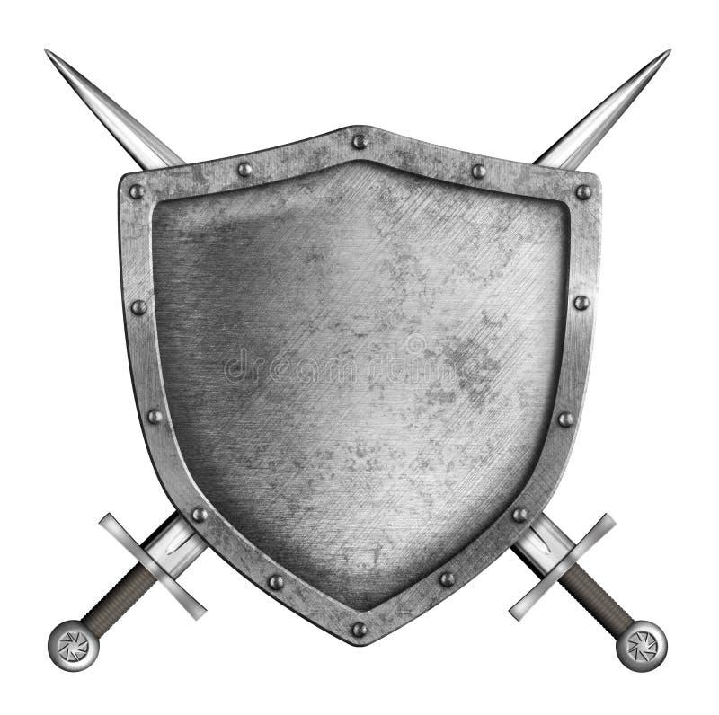Escudo medieval del caballero del metal con las espadas cruzadas aisladas ilustración del vector