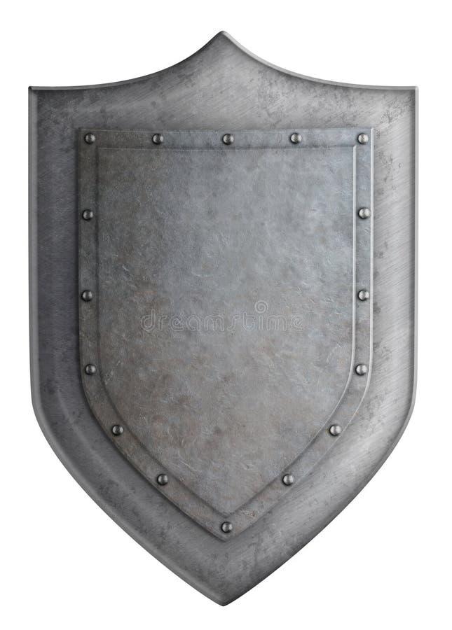Escudo medieval del metal aislado en el ejemplo blanco 3d libre illustration