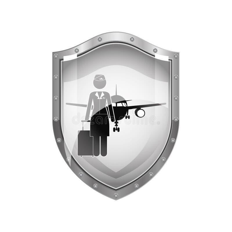 Escudo metálico del asistente y del avión de vuelo stock de ilustración