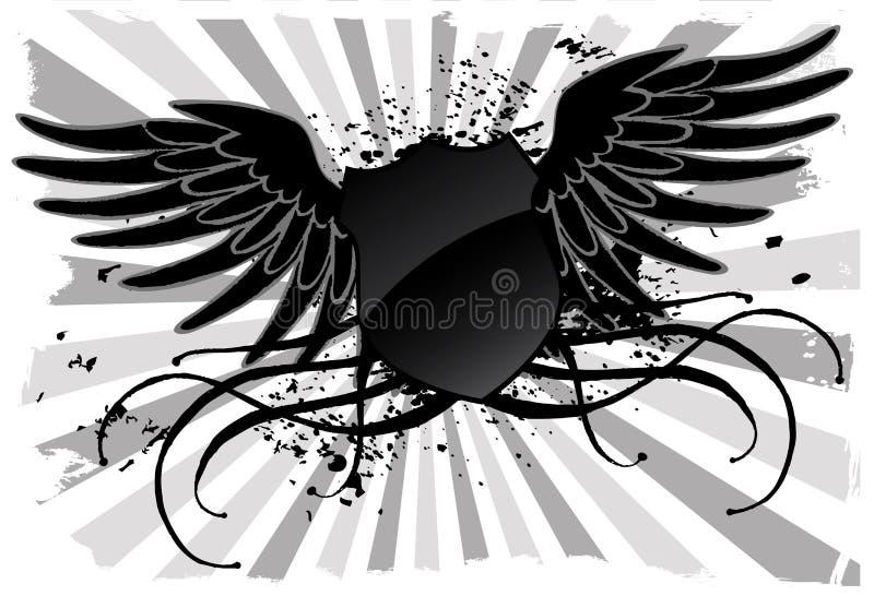 Escudo negro del Grunge ilustración del vector