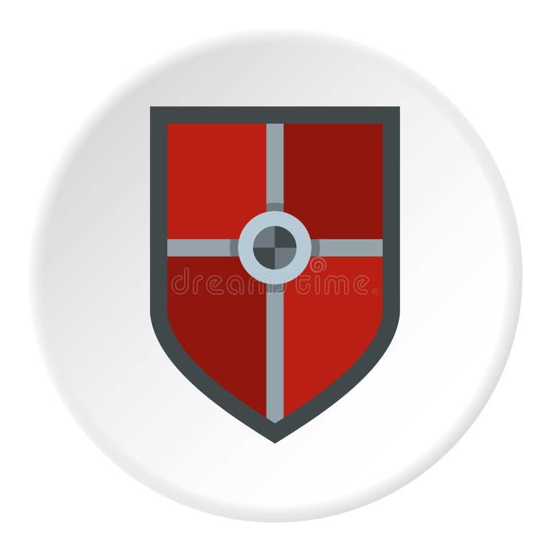 Escudo para el círculo del icono de la lucha stock de ilustración