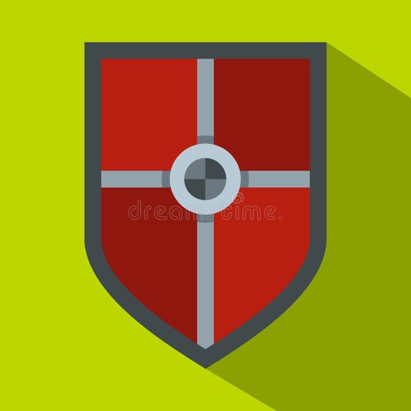 Escudo para el icono de la lucha, estilo plano ilustración del vector