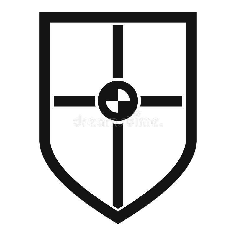 Escudo para el icono de la lucha, estilo simple ilustración del vector