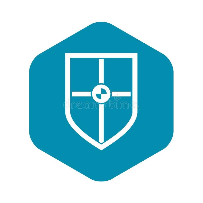 Escudo para el icono de la lucha, estilo simple stock de ilustración