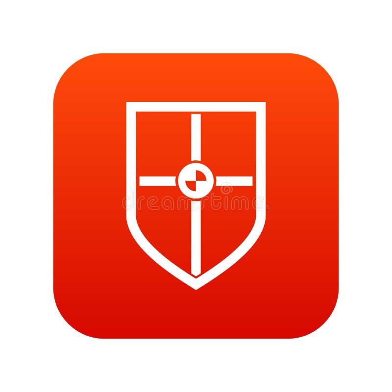 Escudo para el rojo digital del icono de la lucha stock de ilustración