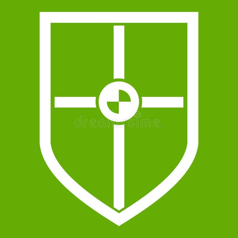Escudo para el verde del icono de la lucha stock de ilustración