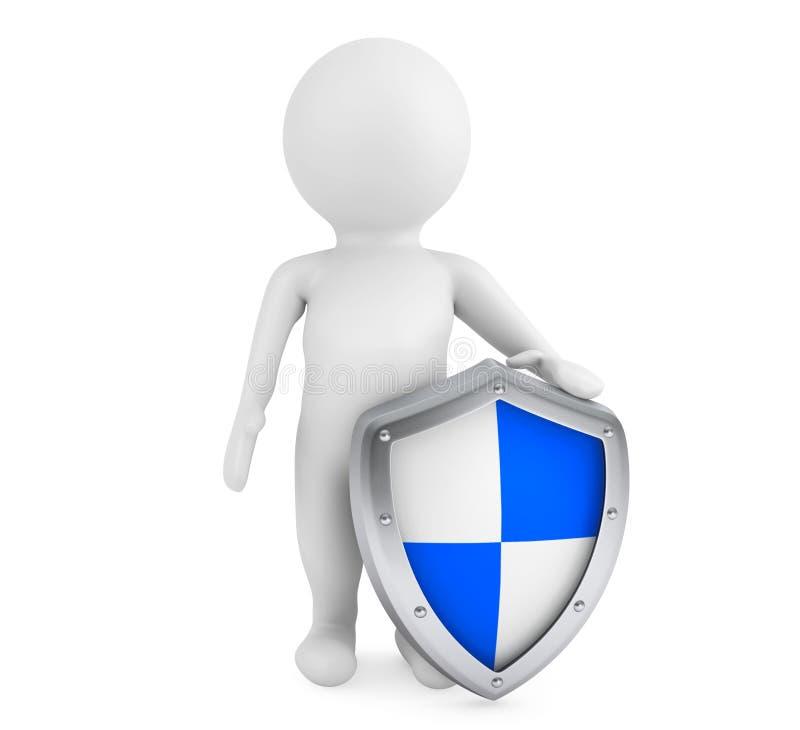 escudo protector del asimiento de la persona 3d stock de ilustración