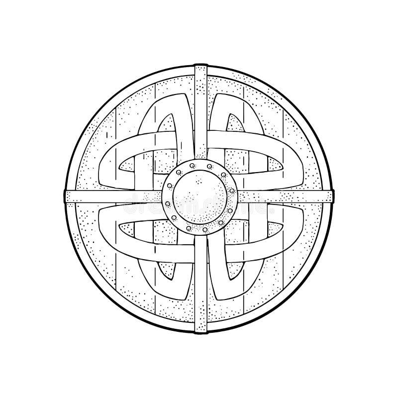 Escudo redondo de madera con las runas de vikingo Grabado del negro del vector del vintage stock de ilustración