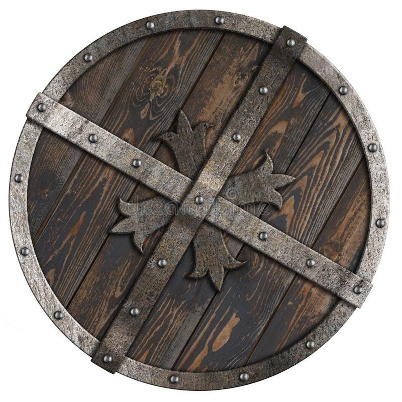 Escudo redondo medieval de madera con el marco metálico y el ejemplo cruzado 3d stock de ilustración