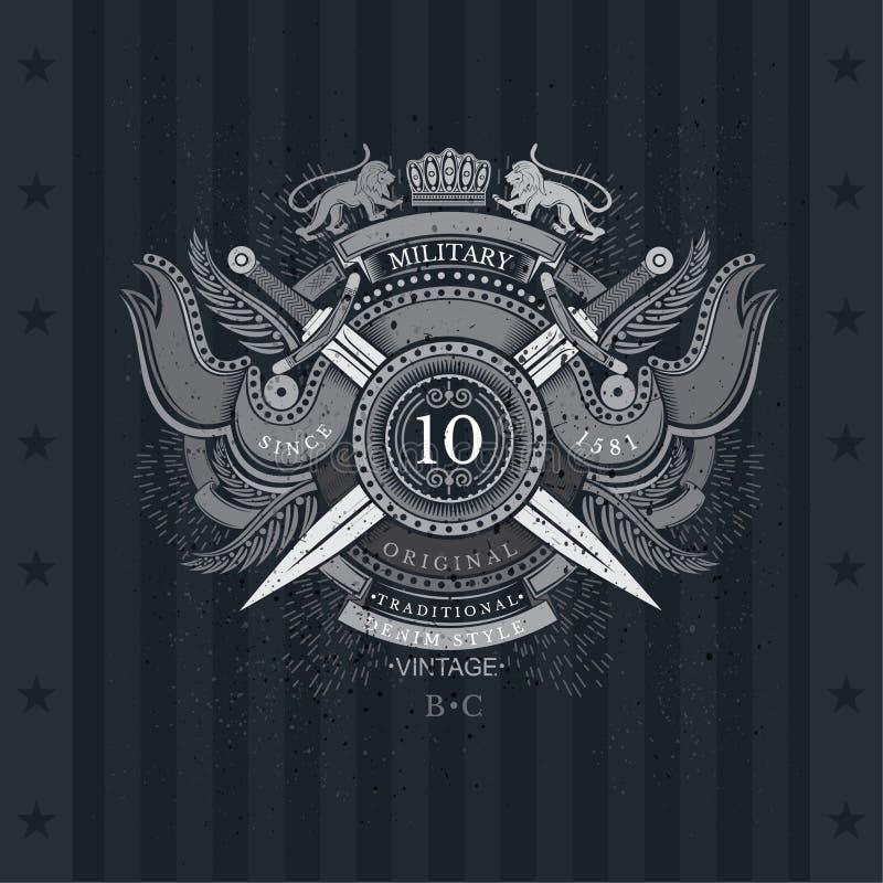 Escudo redondo y espadas cruzadas con las banderas y el león ilustración del vector