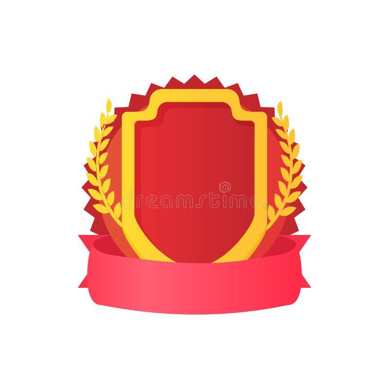 Escudo rojo con el icono de la cinta y del laurel ilustración del vector