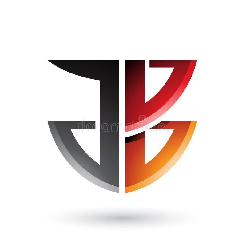 Escudo rojo y anaranjado como la forma de las letras A y B aislado en un fondo blanco stock de ilustración