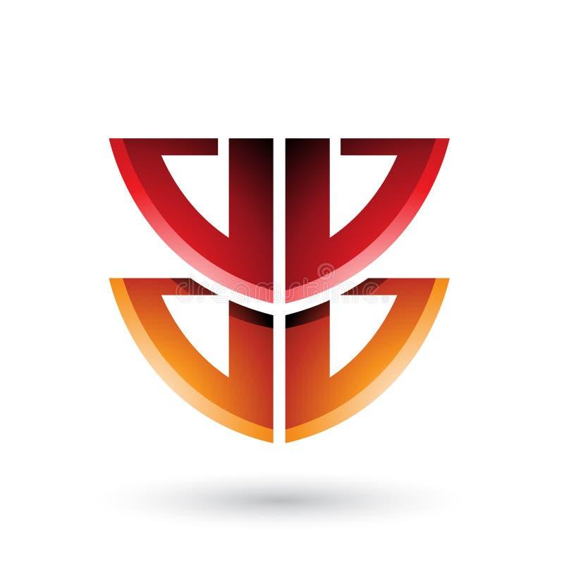 Escudo rojo y anaranjado como la forma de la letra B aislada en un fondo blanco ilustración del vector