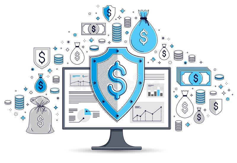 Escudo sobre el sistema de iconos, concepto de la seguridad financiera de Internet, protección en línea de las finanzas, plano de stock de ilustración