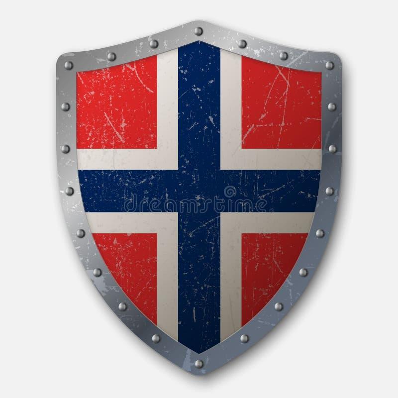 Escudo viejo con la bandera ilustración del vector