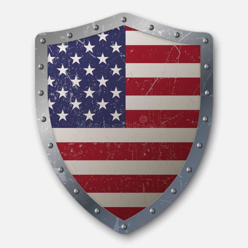 Escudo viejo con la bandera libre illustration