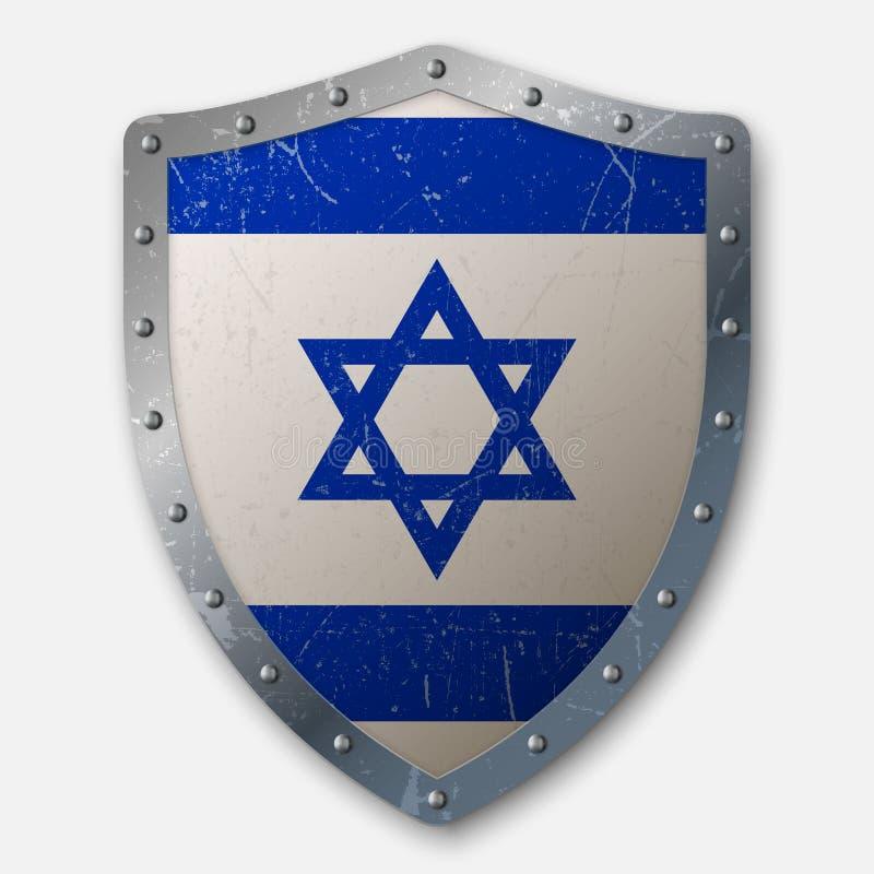 Escudo viejo con la bandera stock de ilustración