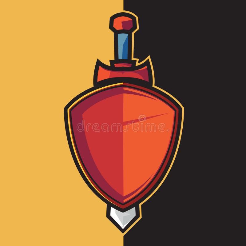 Escudo y espada rojos de la insignia para el diseño del logotipo del esport libre illustration