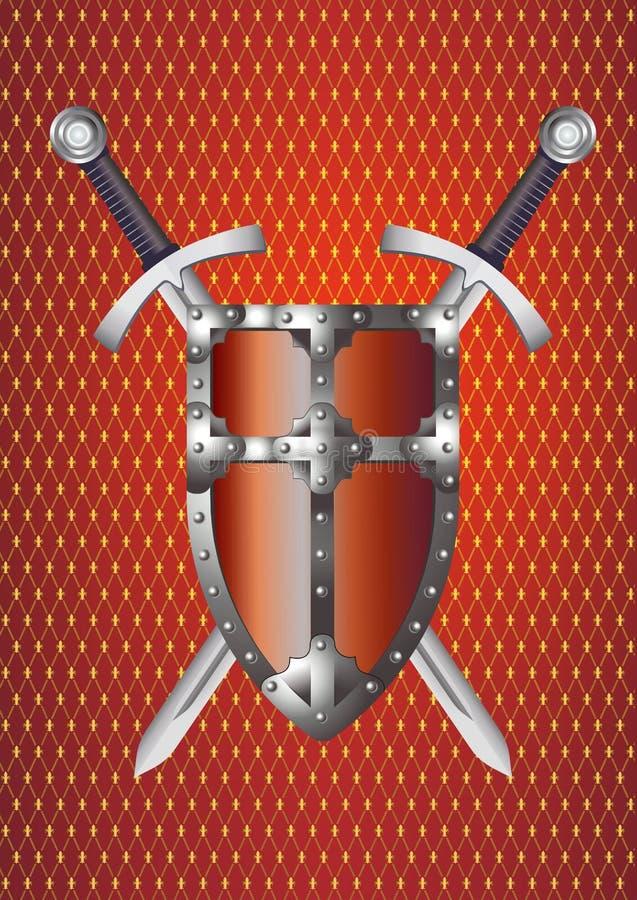 Escudo y espadas ilustración del vector