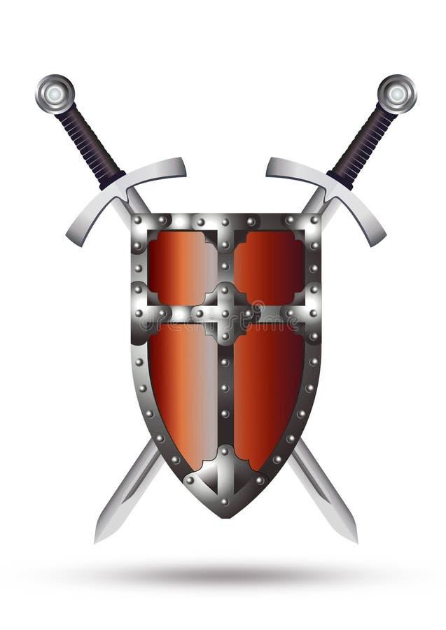 Escudo y espadas medievales ilustración del vector
