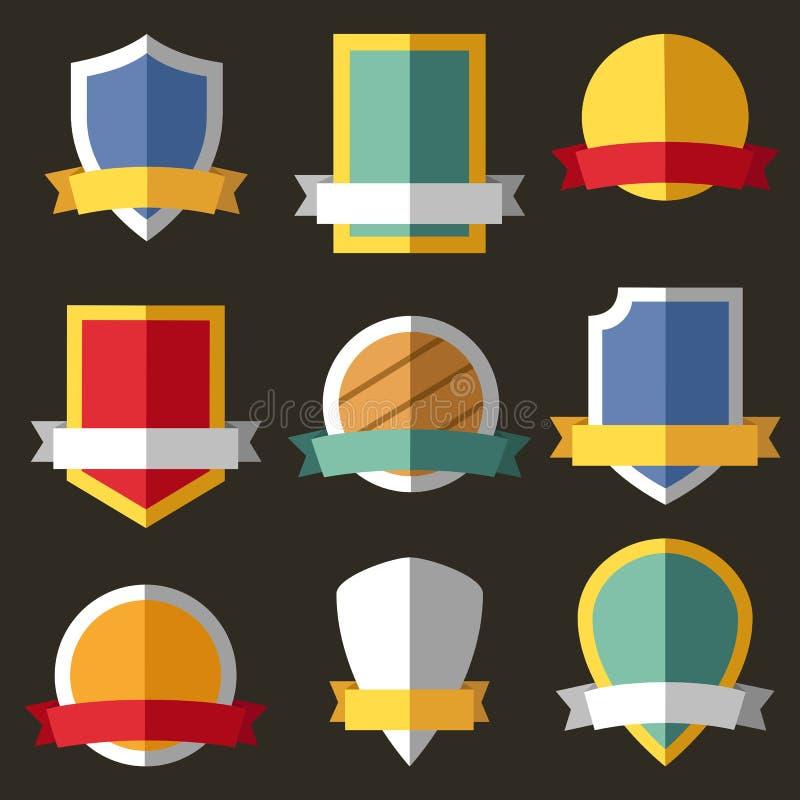 Escudos de armas del vector, escudos, cintas libre illustration