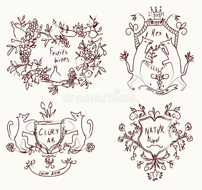 Escudos de armas fijados - diseño retro stock de ilustración