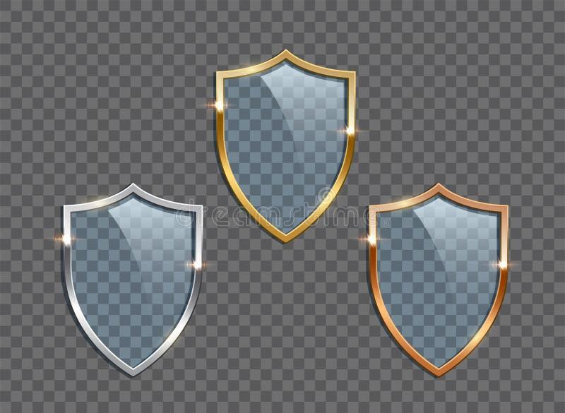 Escudos de cristal con los marcos de oro, de plata y de bronce aislados en fondo transparente Elementos del diseño del vector stock de ilustración