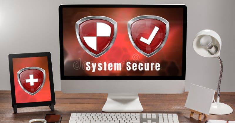 Escudos de la protección de seguridad del antivirus en sistema informático ilustración del vector