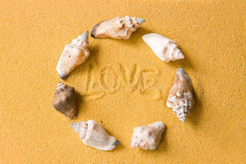 Escudos do amor na praia fotos de stock
